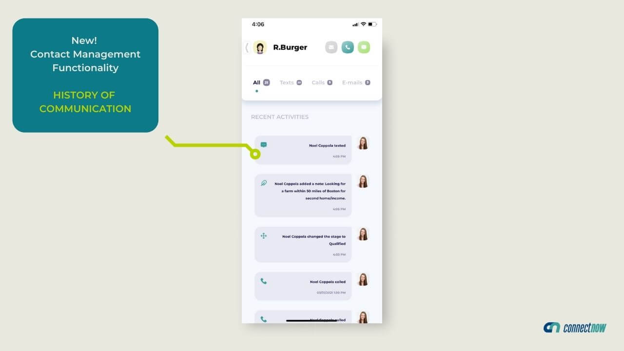 Now you can see all recent actions and contact management history within the Connect Now app!