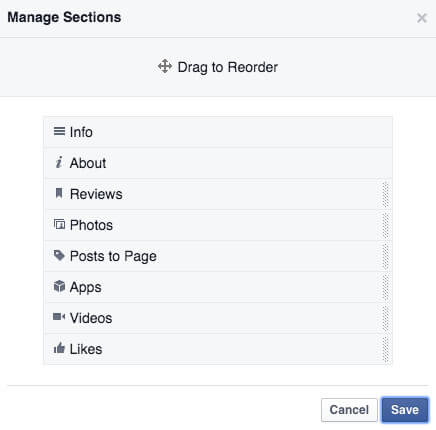 reorganize tabs on your business Facebook page