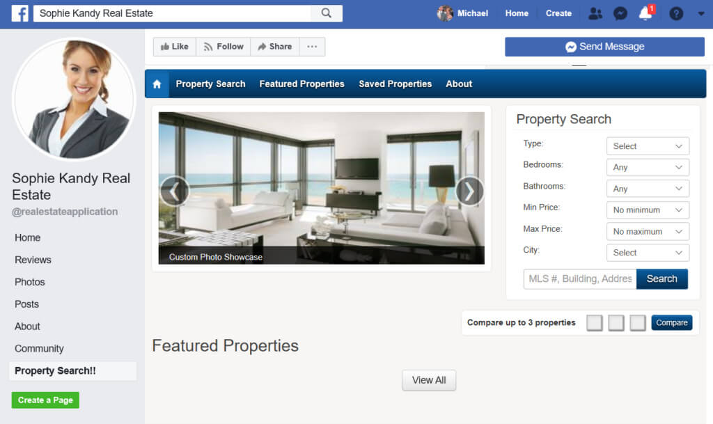 search the MLS on your Business Facebook Page